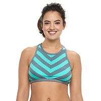 Women's N Lagoon Chevron Striped High-Neck Bikini Top