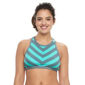 Women's N Lagoon Chevron Striped High-Neck Bikini Top