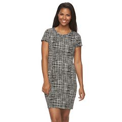 Women's Sharagano Printed Knit Sheath Dress with Exposed Back Zipper