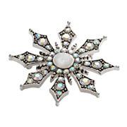 Silver Tone Simulated Crystal Snowflake Pin