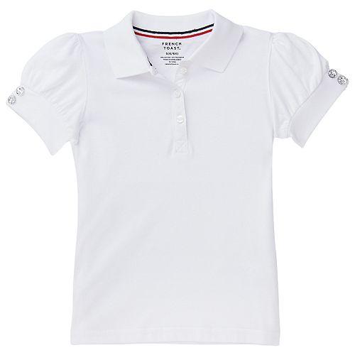Girls 4-20 & Plus Size French Toast Rhinestone Button School Uniform Polo Shirt