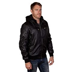 Men's XRAY Faux-Leather Hooded Jacket