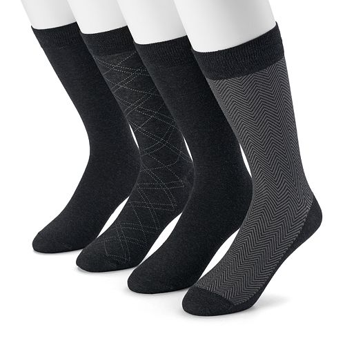 Men's Dockers 4-pack Herringbone & Solid Dress Socks