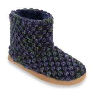 Dearfoams Women's Popcorn Knit Memory Foam Bootie Slippers
