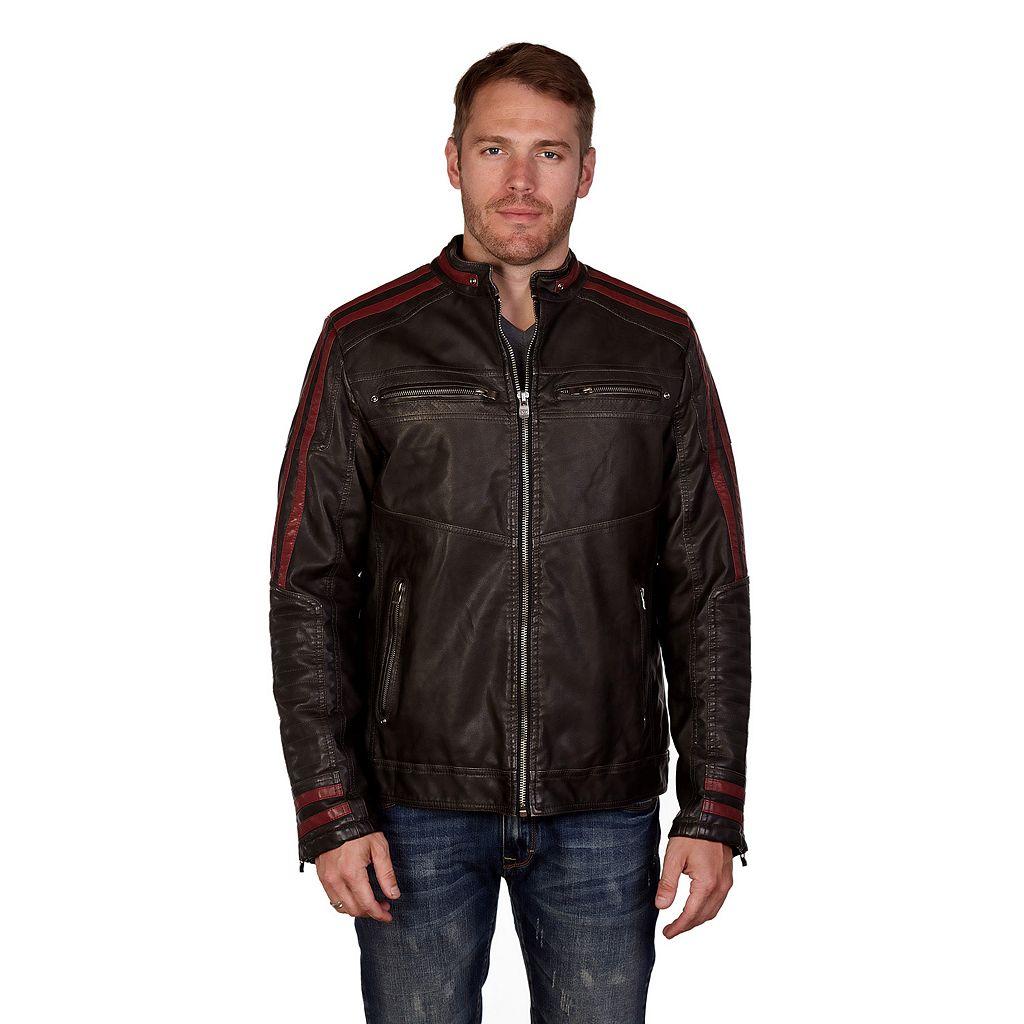 Men's XRAY Striped Moto Faux-Leather Jacket
