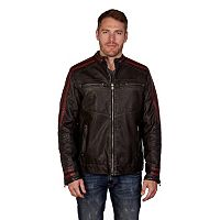 Men's XRAY Striped Moto Faux-Leather Jacket