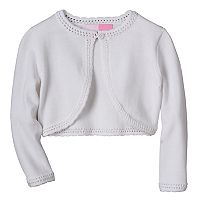 Toddler Girl Sophie Rose Openwork-Knit Trim White Sweater
