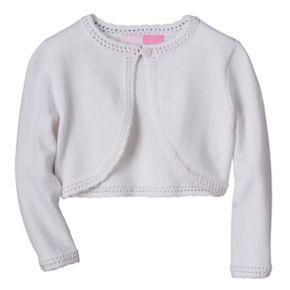 Toddler Girl Sophie Rose Openwork-Knit Trim White Sweater