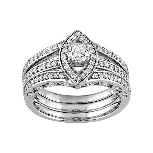 10k White Gold 1 Carat T.W. Diamond Marquise Engagement Ring Set