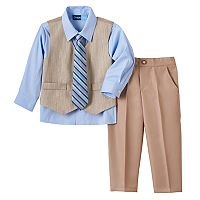 Toddler Boy Great Guy Khaki Vest, Button-Down Shirt, Pants & Striped Tie Set