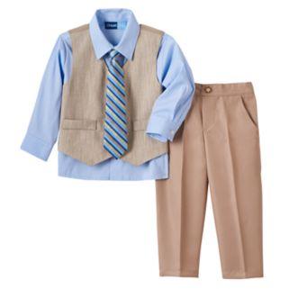 Toddler Boy Great Guy Khaki Vest, Button-Down Shirt, Pants & Striped Tie Set