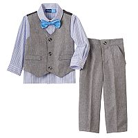 Toddler Boy Great Guy Gray Vest, Plaid Button-Down Shirt, Pants & Bowtie Set