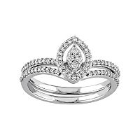 10k White Gold 1/3 Carat T.W. Diamond Marquise Engagement Ring Set