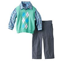 Toddler Boy Great Guy Mint Green Argyle Sweater Vest, Plaid Shirt & Pants Set