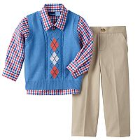 Toddler Boy Great Guy Cable Knit Argyle Sweater Vest, Plaid Shirt & Pants Set
