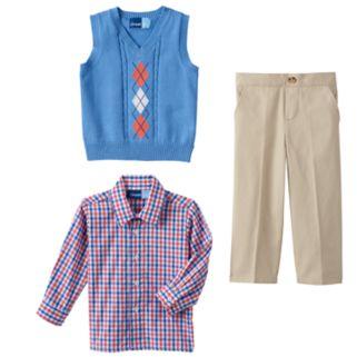 Toddler Boy Great Guy Cable Knit Argyle Sweater Vest, Plaid Shirt & Pants Set