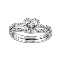 10k White Gold 1/3 Carat T.W. Diamond Heart Engagement Ring Set