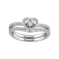 Stella Grace 10k White Gold 1/3 Carat T.W. Diamond Heart Engagement Ring Set