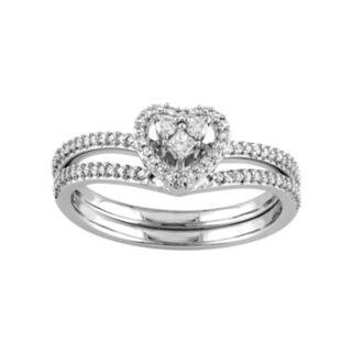 10k White Gold 1/3 Carat T.W. Diamond Heart Engagement Ring Set