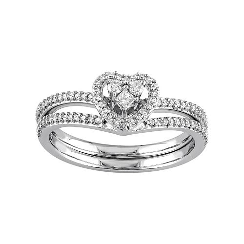 Stella Grace 10k White Gold 1/3 Carat T.W. Diamond Heart Engagement Ring Set