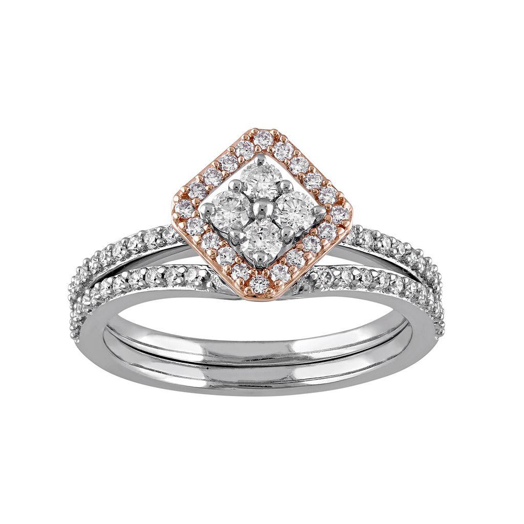 14k White Gold 5/8 Carat T.W. Diamond Kite Engagement Ring Set