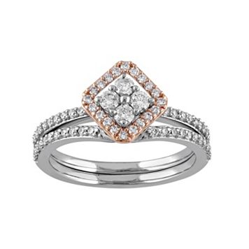 14k White Gold 5/8 Carat T.W. Diamond Kite Engagement Ring Set