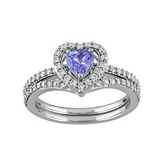 10k White Gold 1/2 Carat T.W. Diamond & Tanzanite Heart Engagement Ring Set