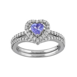 10k White Gold 1/2 Carat T.W. Diamond & Tanzanite Heart Engagement Ring Set