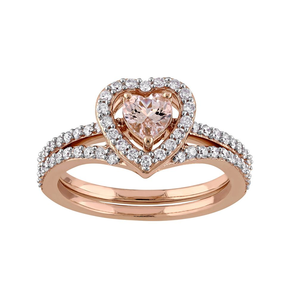 10k Rose Gold 1 2 Carat TW Diamond Morganite Heart Engagement Ring Set