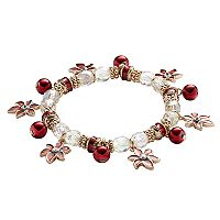 Gold Tone Simulated Crystal Poinsettia Charm & Bead Stretch Bracelet