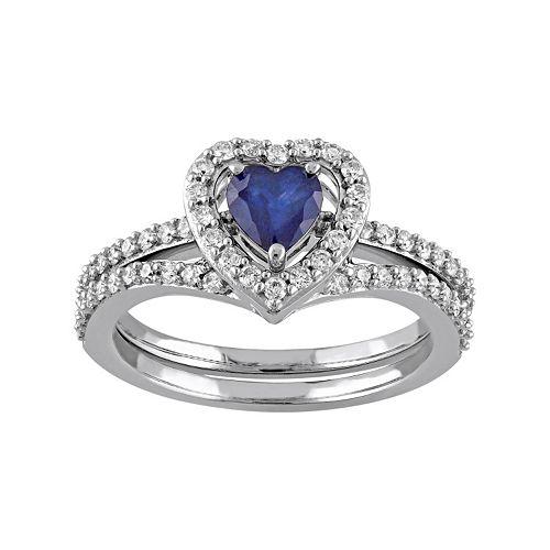 10k White Gold 1/2 Carat T.W. Diamond & Sapphire Heart Engagement Ring Set