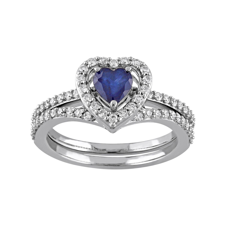 Stella Grace 10k White Gold 1/2 Carat T.W. Diamond U0026 Sapphire Heart  Engagement Ring Set