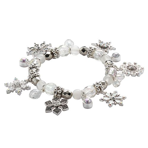 Silver Tone Simulated Crystal Snowflake Charm & Bead Stretch Bracelet