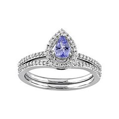 10k White Gold 1/3 Carat T.W. Diamond & Tanzanite Teardrop Engagement Ring Set