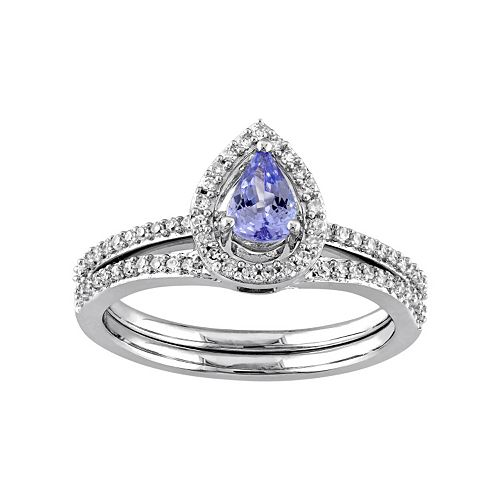 Stella Grace 10k White Gold 1/3 Carat T.W. Diamond & Tanzanite Teardrop Engagement Ring Set