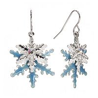 Silver Tone Simulated Crystal Layered Snowflake Drop Earrings