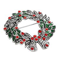 Silver Tone Simulated Crystal Christmas Wreath Pin