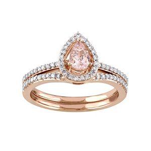 Stella Grace 10k Rose Gold 1/3 Carat T.W. Diamond & MorganiteTeardrop Engagement Ring Set