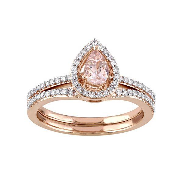 Stella Grace 10k Rose Gold 1 3 Carat T W Diamond Morganite Teardrop Engagement Ring Set