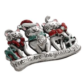 Silver Tone Simulated Crystal '' Friends'' Christmas Cat Pin