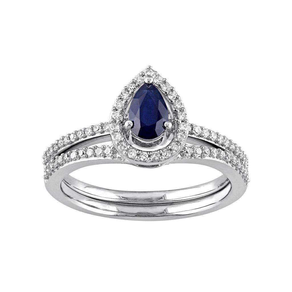 10k White Gold 1/3 Carat T.W. Diamond & Sapphire Teardrop Engagement Ring Set