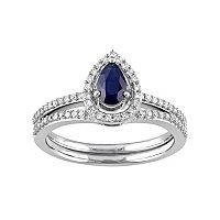 10k White Gold 1/3 Carat T.W. Diamond & Sapphire Teardrop Engagement Ring Set