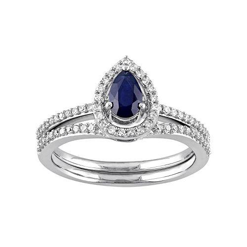Stella Grace 10k White Gold 1/3 Carat T.W. Diamond & Sapphire Teardrop Engagement Ring Set