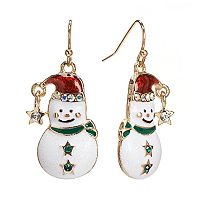 Gold Tone Simulated Crystal Snowman Drop Earrings