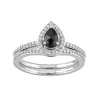 10k White Gold 3/4 Carat T.W. Black & White Diamond Teardrop Engagement Ring Set