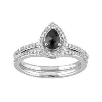 10k White Gold 3/4 Carat T.W. Black & White Diamond Teardrop Engagement Ring Set
