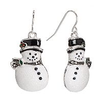 Silver Tone Glitter Snowman Drop Earrings