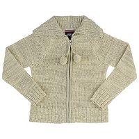 Girls 4-20 French Toast School Uniform Pom-Pom Zip-Up Sweater