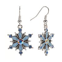 Silver Tone Simulated Crystal Snowflake Drop Earrings