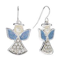 Silver Tone Simulated Crystal & Simulated Pearl Angel Drop Earrings